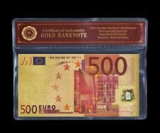 ❌ 24k vergoldeter 500 € Schein ☆ mit Zertifikat ☆ ❌