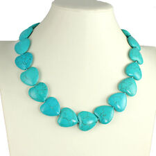 Semi precious genuine turquoise heart shape stone 50cm choker necklace jewellery
