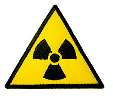 Nuclear Power Triangle Sign Symbol Logo Embroidered Iron on Patch Free Postage