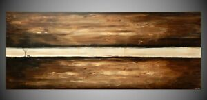 Großes Acrylbild, abstrakte Landschaft, Braun, Beige mit Baum und Sitzbank, XXL