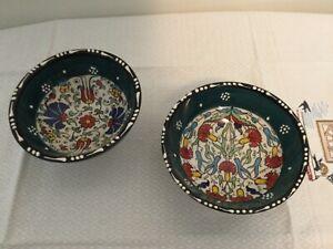 Nakkas Cini Turkish Ceramic Dip Bowl 4.75x 2.5 NWT Set of 2 pc