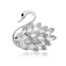 Stunning Crystal Swan Brooch - Rhodium Plated - New in Gift Box