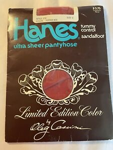 Hanes  Pantyhose Size C 1970's Limited Edition color Pepper RED Style 710