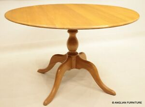 Ercol Round Pedestal Dining Table Light Finish Hip Splayed Legs FREE UK Delivery