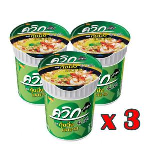 3X Quick Noodles Hot & Spicy Shrimp Flavour Instant Cup Original Thai Style 60g.