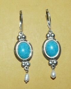 """~BLACK~HILLS~GOLD~CCO~""""925""""~STERLING~SILVER~w/~TURQUOISE~&~PEARL~DANGLE~EARRINGS"""