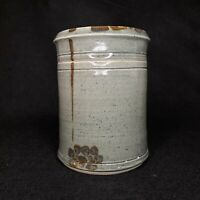 Vintage Hand Thrown Art Pottery Canister Jar w Lid Gray Speckle Flowers Signed