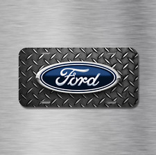 Ford Vehicle License Plate Front Auto Tag Simulated Diamond Plate f150 f250