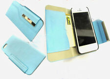 Luxury Leather Wallet Cover Pouch Case Card Slot For iPhone 5 5G 5S 5C SE Blue