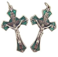 Lot of 2 Silver Tone with Green Enamel 1 7/8 Inch Cross Crucifix Rosary Pendant