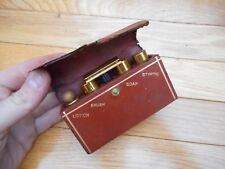 Vintage Gillette Razor Deluxe Gold Travel Shaving Kit With Leather Carry Case