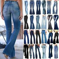 Women Flare Denim Jeans Skinny Bell Bottom Palazzo High Waist Pants Trousers USA