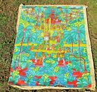 Antique Mayan Aztec Indian Egyptian Colorful Hand Painted Tapestry canvas