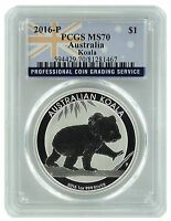 2016 P Australia 1oz Silver Koala PCGS MS70 Flag Label