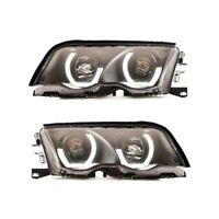 2 FEUX PHARE AVANT ANGEL EYES LED TUBE 3D BMW SERIE 3 E46 BERLINE PHASE 1