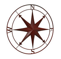 Zeckos Indoor Outdoor Metal Compass Rose Wall Sculpture 39.5 Inch Diameter