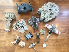 Vintage Star Wars Ships (1995-2004), Lot of 12.  Millennium Falcon, Tie Fighter+