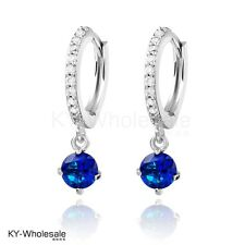 Lovely Classic Real Platinum Plated Blue Cubic Zircon Gem Hoop Earrings