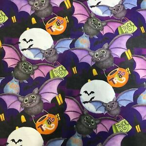 Happy Bats On Purple and Violet 100% Cotton Quilting Fabric by Springs 1100715