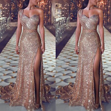 Sequins Gold One Shoulder High Slit Long Mermaid Evening Party Ball Gown Dresses