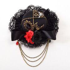 Black Bow Hair Clip Gothic Death Headwear Lolita Girl Floral Greas Heart Pattern