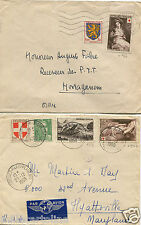 FRANCE, 2 ENVELOPES USED IN 1950'S, TOTAL 2 RED CROSS STAMPS + 4 OTHER STAMPS  m