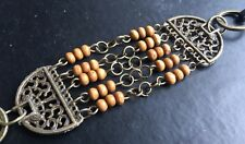 Antique Brass Style Boho Tan Adjustable Beaded Bracelet / Anklet