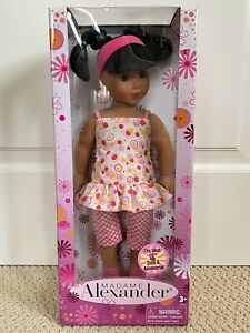 "NIB Madame Alexander 18"" Pink Gingham Pants Dress Outfit Pigtails Hair 2009 Doll"