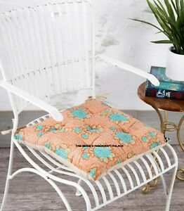 Vintage Kantha Quilted Seat Cushion Outdoor Lounge Indoor Square Soft Chair Pad