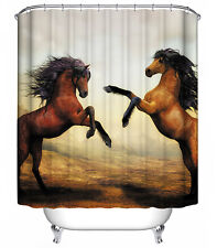 Brown Dancing Horses Shower Curtain Wild Western Cowboy Ranch Sunset Stand Pony