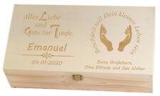 Erinnerungskiste Holzbox mit Wunsch-Namen Baby Junge Mädchen Taufgeschenke M-7