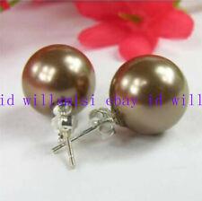 Huge 14mm South Sea Brown Shell Pearl Silver Stud Earrings