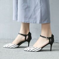 Womens Pointed Toe Stiletto High Heels Sandals Buckle Striped Elegant Shoes Size