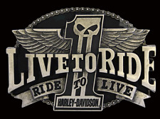 HARLEY DAVIDSON MENS Live To Ride #1 Skull with Wings BELT BUCKLE