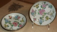 Pair of Brass & Porcelain Bowls made in China Gentle Use Floral Motif