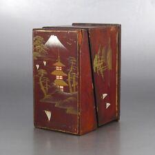 Antique Japanese Wooden Lacquered Box, Pagoda, Temple, Mount Fujiyama