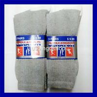 Lot of 3 or 6 Pairs New Cotton Womens Athletic Sports Crew Socks 9-11 Gray&White