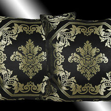2 GOLD DAMASK BLACK THROW PILLOW CASE CUSHION COVERS 17