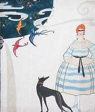 BARBARA WEISMANN-WPA Designer-Original Signed Gouache-Fashion Illustration & Dog