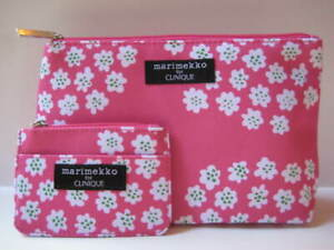 Marimekko For Clinique Hot Pink & White Floral Bag & ID Card/Coin Case Set 💕NEW