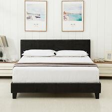 Queen Faux Leather Platform Bed Frame Upholstered Headboard Bedroom Furniture