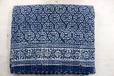 kantha quilt vintage throw handmade stitched Flower indigo blue print NGHJVF48