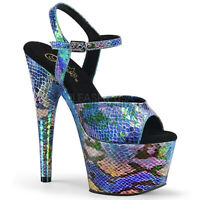 Pleaser ADORE-709SP Women's Snake Print Blue Hologram Wrapped Heel Strap Sandals