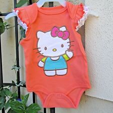 Hello Kitty Baby Bodysuit Size 3-6 Months  Snap Clouser Ruffel Sleeves