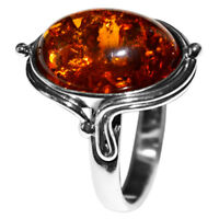 5.9g Authentic Baltic Amber 925 Sterling Silver Ring Jewelry N-A7464