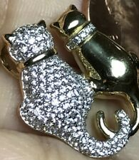 "GOLD Cat Kitten Pendant 14k Yellow Charm Necklace simulated diamond 1"""