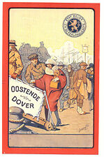 BELGIUM FERRY PAQUEBOT OOSTENDE TO DOVER BEAUTIFUL OLD ARTIST POSTCARD VIEW