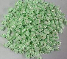 Apple green 50pcs 12mm flower bud Satin Ribbon Rose Flower DIY Craft Wedding
