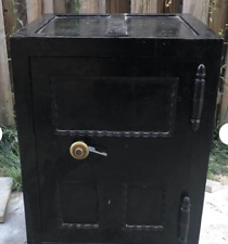 "1900 Antique floor safe on wheels with working lock mechanism 34"" X 23"" X 22"""