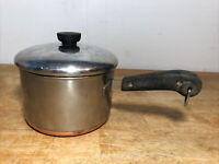 Pre-1968 REVERE Ware 3 Qt Quart Copper Bottom SAUCE PAN ~ Process Patent Clinton